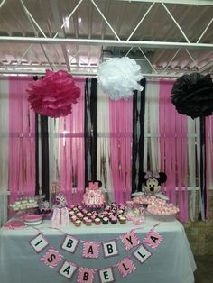 Diy minnie mouse baby shower dessert table