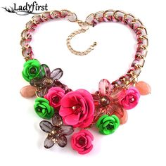 2016 New Women Charm Metal Flower  Gold Chain Multicolor Beads Collar Chokers Maxi Necklaces & Pendant Statement Necklace 2763
