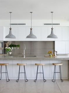 Like the counter, not the sterile color palette. Modern Kitchen-White & Grey with Industrial Touches