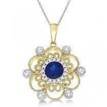 Antique Filigree Sapphire & Diamond Pendant 14K Two Tone Gold (0.55ct)