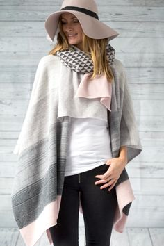 Ombre Knitted lambswool blanket poncho