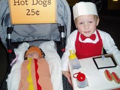 Two children costumes: Hot Dog Vender and Hot Dog Baby