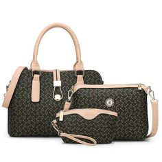 3 PC High Quality PU Leather Letter Striped Handbag Shoulder Bag Purse Set  Stripes Fashion d36cff11c6550