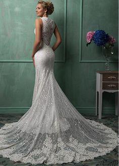 Elegant All-over Lace V-neck Neckline Natural Waistline Sheath Wedding Dress With Lace Appliques