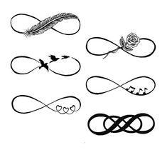 Different infinity tattoo design for girls, with meaningful symbols each.