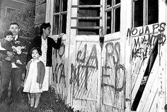 A sad historical fact of America's paranoia. A Japanese family returning home from a relocation center camp in Hunt, Idaho, found their home and garage vandalized with anti-Japanese graffiti and broken windows in Seattle, Washington, on May (AP Photo) World History, World War Ii, Japanese Graffiti, Idaho, Haunting Photos, Japanese American, Photo Story, Pearl Harbor, Thats The Way