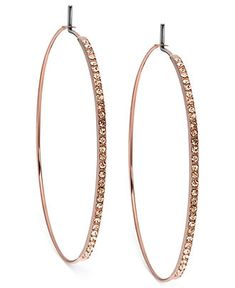 Michael Kors Earrings, Rose Gold-Tone with Gold Quartz Pave Medium Whisper Hoop Earrings - Rose Gold Fashion - Jewelry & Watches - Macy's