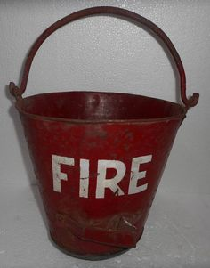 From India Vintage Fire Fighter Fire House Metal Water Pail Bucket Hand Painted