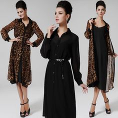 2pcs Spring Super Sexy Leopard Long Sleeve Chiffon Blouse Top Elegant Maxi Dress