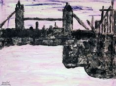 Exudes beauty (Bridge over the Thames) Ink, watercolor on shimmed paper, 1995, 57x77 cm
