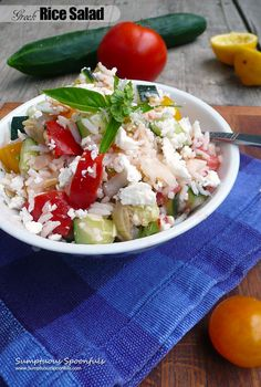 Greek Rice Salad Recipe ~ Sumptuous Spoonfuls #Mediterranean #Rice #Salad…