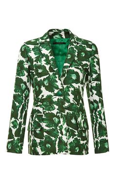 Shop Printed Cotton Sateen Tailored Blazer by Mother of Pearl Now Available on Moda Operandi