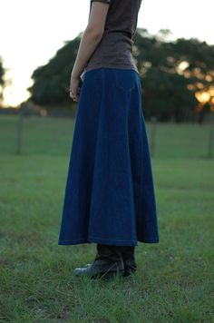 Ladies modest dark denim Jean skirt from the Pretty Modest Shoppe