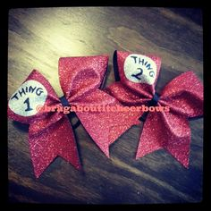 glitter thing 1 thing 2 cheer bow by BragAboutItCheerBows on Etsy, $26.00