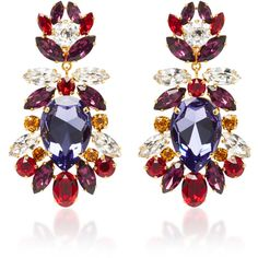 Dolce & Gabbana Crystal Clip Earrings ($995) ❤ liked on Polyvore featuring jewelry, earrings, multi, colorful earrings, multi color earrings, floral jewelry, multi colored earrings and multi colored crystal earrings