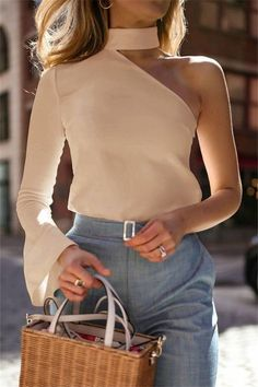 Autumn And Winter Fashion Sexy Pure Color Single Shoulder Long Sleeve Blouses Herbst und Winter Mode Look Fashion, Trendy Fashion, Spring Fashion, Winter Fashion, Womens Fashion, Fashion Trends, Fashion Mode, Fashion 2018, Fashion Ideas