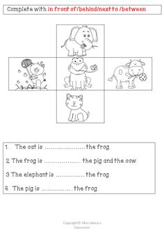 $ Prepositions of place big pack  - Homework worksheet from the pack  Preposition of place big pack has 63 pages ! Learning grammar can be super fun ! :-)