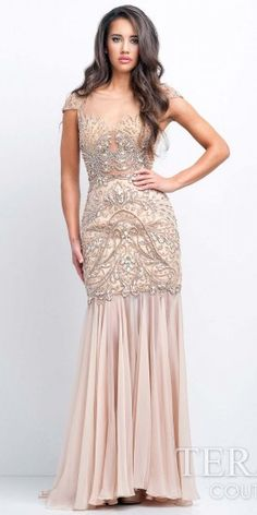 Terani Couture Cap Sleeved Chiffon Evening Gown