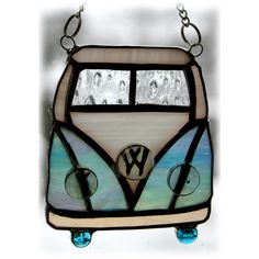 VW Campervan Suncatcher Stained Glass Turquoise Man present £12.00