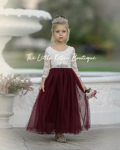 Long Sleeve Special Occasion Dress / Lace and tulle flower girl dress Fall Flower Girl, Flower Girl Dresses Boho, Rustic Flower Girls, Lace Flower Girls, Girls Dresses, Burgandy Flower Girl Dress, Burgundy Flowers, Flower Art, Wallpaper Flower