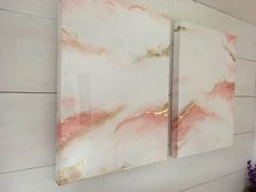 Beautiful abstract marble epoxy resin painting in blush rose and gold on white canvas https://www.etsy.com/ca/listing/562496566/beautiful-abstract-marble-effect-epoxy