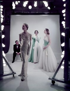 Norman Hartnell and models, British Vogue 1953