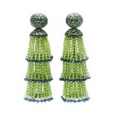 A Pair of Green Sapphire and Peridot Tassel Ear Pendants, by Hemmerle