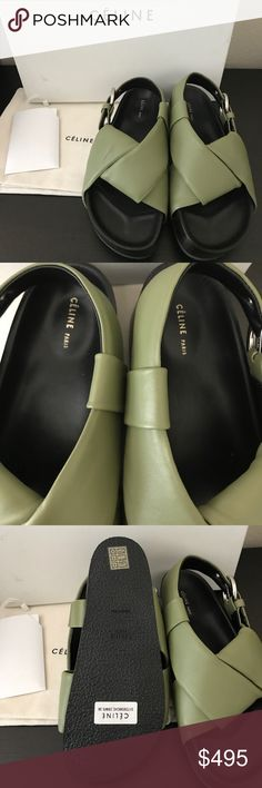 🍭Celine Slingback Sandals NIB Celine green sandals. Thick platforms. Leather upper and insole. Size 36. Has minor imperfections refer to the last pic. Nothing major. Box is a little dirty.Retail 890+tax. Comes with dust bag and box. Celine Shoes Sandals
