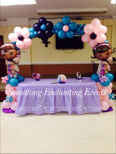 Teal, pink and purple. Doc Mcstuffins Birthday Party, 4th Birthday Parties, Birthday Balloons, Birthday Party Decorations, 3rd Birthday, Balloon Arrangements, Balloon Decorations, Aaliyah Birthday, Kids Party Themes