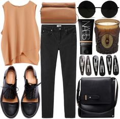 home by jesicacecillia featuring oxford shoes ❤ liked on PolyvoreDraped top, $115 / Acne mid-rise jeans / Minimarket oxford shoes / Zara  bag / Clips black hair accessory / NARS Cosmetics beauty product, $43 / D.L.  Co Siamese Water Botany Ambiance Candle