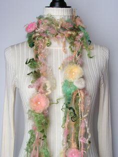 Art Yarn Scarf  Belt  Lariat  Flower Scarf by ilashkisses on Etsy