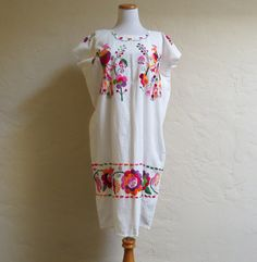 Hippie Boho Vintage 70s Embroidered Mexican Dress by LolaAndBlack, $75.00