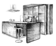 > Schets; er zijn geen perfect strakke lijnen te zien > Materialen; potlood, kleurpotlood, gum > het keukentje is simpel maar strak, en nog steeds zijn er ronde vormen zichtbaar