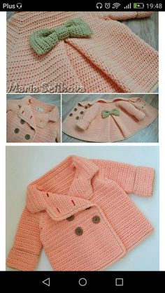 Discover thousands of images about Baby Knitting, Crochet Things, Crocheting, Sweaters, Kids, Crafting, Fashion, Crochet Coat, Vestidos