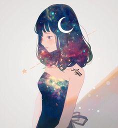 anime girl, moon, and edit image