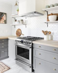 """Studio McGee on Instagram: """"Sometimes I feel like I see so many pictures everyday that might head might explode. However, this kitchen reno that @chrislovesjulia just revealed is blowing my mind in the best possible way! They did it in 6 days, people! It proves that brass, butcher block, and subway tile are ALWAYS a good idea. 😍"""""""