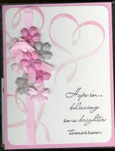 Breast Cancer Awareness Card for a Friend using Stampin Up Hope Is... retired stamp set