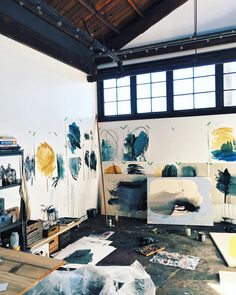 State of the studio: my studio space painting studio, studio ș Art Studio Design, Art Studio At Home, Space Painting, Painting Studio, Creative Studio, Creative Art, Art Atelier, Cool Office Space, Dream Studio