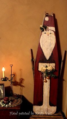 Painted Ironing Board, Vintage Ironing Boards, Primitive Santa, Primitive Crafts, Wood Crafts, Christmas Signs, Christmas Projects, Christmas Art, Christmas Ideas
