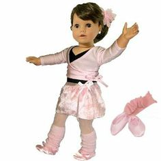 "7 Pc. Complete Ballet Outfit, Fits 18 Inch American Girl Dolls, Doll Leotard, Hairpiece, Doll Sweater, Doll Skirt, Tights, Doll Warm Up Socks, & Doll Ballet Slippers by Sophia's. $25.95. Light Pink Spandex Long Sleeve V-Shaped Overlapped Front with Side Bow.. Black Spandex Short Sleeve Cinched Breast Leotard.. Soft Wrap Around Ballet Skirt.. Doll Ballet Outfit for 18"" Dolls- 7 Pieces. Pink Glitter Tulle Head Piece. Pink Tights. Pink Ruffled Hem Leg Warmers. Pink Satin Ballet Slip..."
