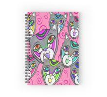 Catheads Rule with Pink Swirls Spiral Notebook Spiral Notebooks, Swirls, Custom Design, Stickers, Pink, Blue, Bespoke Design, Sticker, Pink Hair