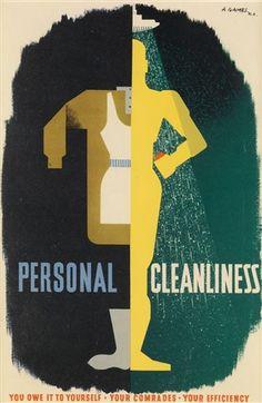 Abram Games (britannique, 1914-1996),  PERSONAL CLEANLINESS , 1941