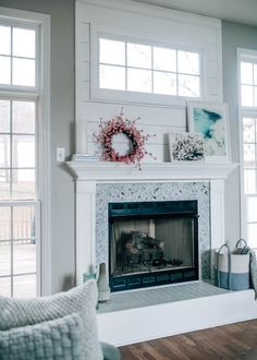 Picture Above Fireplace . Picture Above Fireplace . Fireplace Makeover Reveal with the Home Depot X Pretty In Closet Renovation, Herringbone Fireplace, Fireplaces For Sale, Marble Fireplaces, Fireplace Hearth, Wood Fireplace, Fireplace Design, Freestanding Fireplace, Fireplace Decor