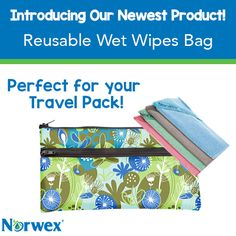Convenient, cost-effective and #eco-friendly, this water-resistant, 2-pocket bag is the reusable on-the-go solution to carry your #Norwex #Microfiber Cloths, dry or wet, anytime, anywhere. Put your dry, unused Makeup Remover Cloths or Baby Body Pack in the front pockets, and use the larger pocket for wet or used items. #Norwex2015