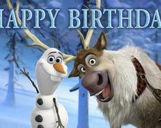 Frozen Birthday Banner - Olaf & Sven