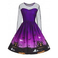 Plus Size Lace Panel Halloween Pumpkin Castle Print Dress