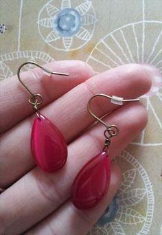 Cerise Pink Glass Drop Vintage Earrings Vintage Earrings, Women's Earrings, Cerise Pink, Asos, Jewelry, Jewellery Making, Jewerly, Jewelery, Jewels