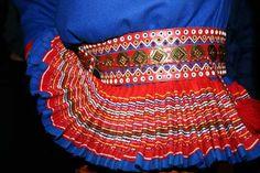 Detail on Sami traditional dress, Inari, Finland Traditional Fashion, Traditional Dresses, Scandinavian Embroidery, Lappland, Folk Fashion, Clothes Crafts, Folk Costume, Textile Prints, Folklore