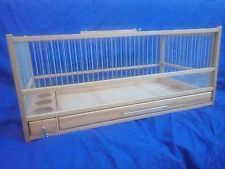 Wooden Button Quail Cage L: 21.5 - H:9.25 - W:11.81 /Slide Out Tray, Plexiglas