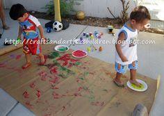 Fun Handprint and Footprint Art : Toddler Stomp Painting Activity Toddler Arts And Crafts, Toddler Activities, Activities For Kids, Crafts For Kids, Motor Activities, Sensory Activities, Outdoor Activities, Sun Crafts, Summer Crafts